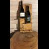 Porta bottiglia in legno con porta bicchieri