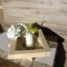 Porta candele realizzato a mano su supporto in legno di abete