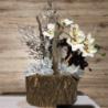 Tronco scavato internamente con rifinitura a cera inserto orchidea e rami pezzo unico