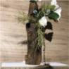 Tronco veramente unico nel suo genere Trattamento al naturale per esaltarne la bellezza con inserimento di rose verde e magnolia